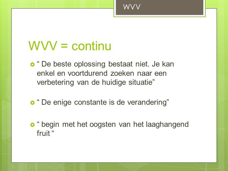 WVV = continu  De beste oplossing bestaat niet.
