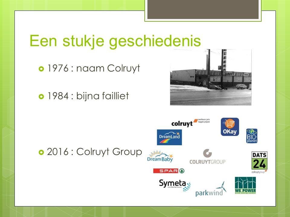 Een stukje geschiedenis  1976 : naam Colruyt  1984 : bijna failliet  2016 : Colruyt Group
