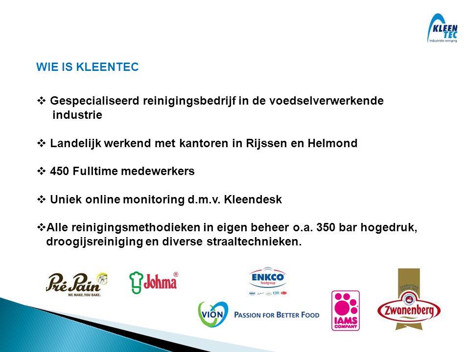WIE IS KLEENTEC  Gespecialiseerd reinigingsbedrijf in de voedselverwerkende industrie  Landelijk werkend met kantoren in Rijssen en Helmond  450 Fulltime medewerkers  Uniek online monitoring d.m.v.