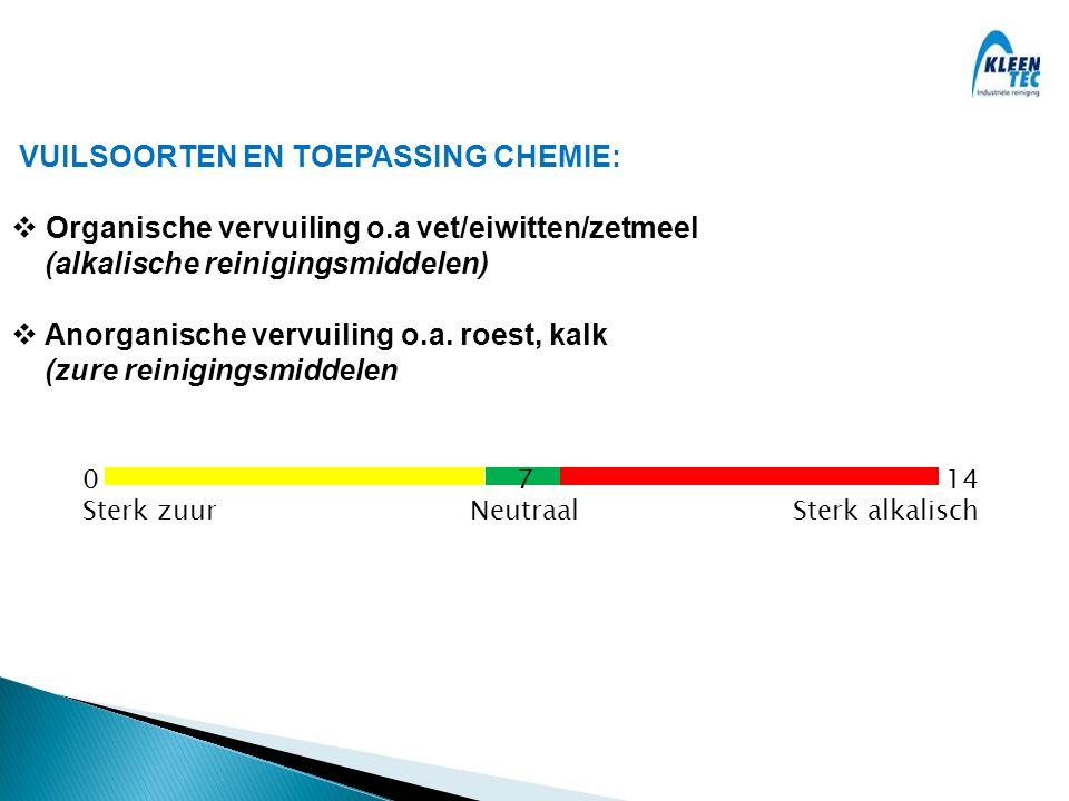 VUILSOORTEN EN TOEPASSING CHEMIE:  Organische vervuiling o.a vet/eiwitten/zetmeel (alkalische reinigingsmiddelen)  Anorganische vervuiling o.a.