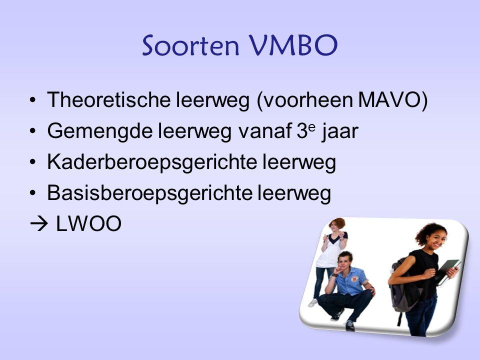 Soorten VMBO Theoretische leerweg (voorheen MAVO) Gemengde leerweg vanaf 3 e jaar Kaderberoepsgerichte leerweg Basisberoepsgerichte leerweg  LWOO