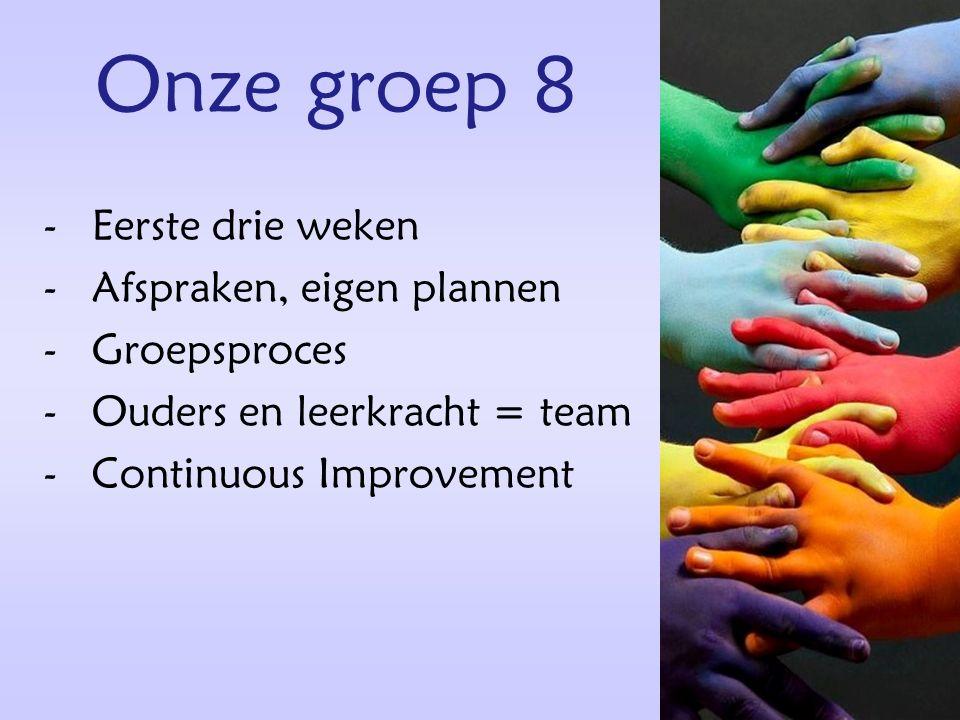 Onze groep 8 -Eerste drie weken -Afspraken, eigen plannen -Groepsproces -Ouders en leerkracht = team -Continuous Improvement
