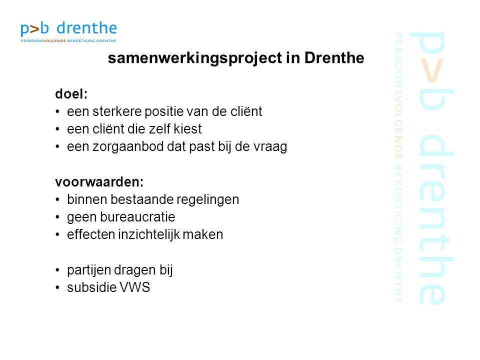 samenwerkingsproject in Drenthe doel: een sterkere positie van de cliënt een cliënt die zelf kiest een zorgaanbod dat past bij de vraag voorwaarden: b
