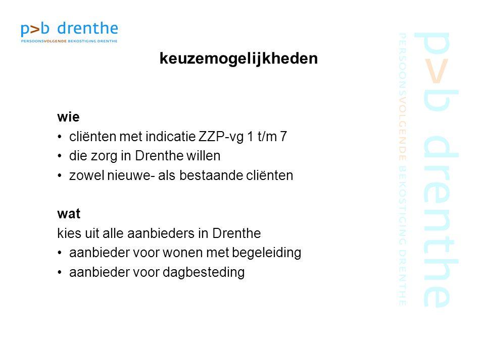 keuzemogelijkheden wie cliënten met indicatie ZZP-vg 1 t/m 7 die zorg in Drenthe willen zowel nieuwe- als bestaande cliënten wat kies uit alle aanbied