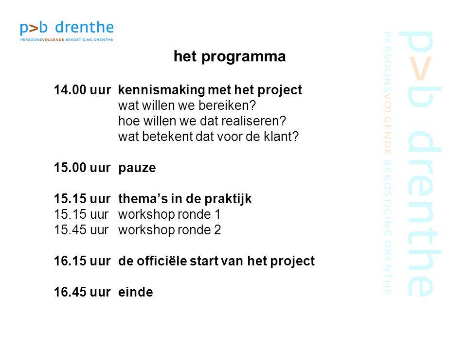 het programma 14.00 uur kennismaking met het project wat willen we bereiken? hoe willen we dat realiseren? wat betekent dat voor de klant? 15.00 uurpa