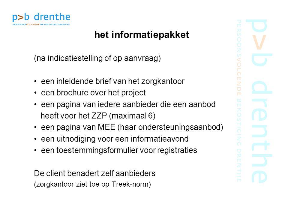 het informatiepakket (na indicatiestelling of op aanvraag) een inleidende brief van het zorgkantoor een brochure over het project een pagina van ieder