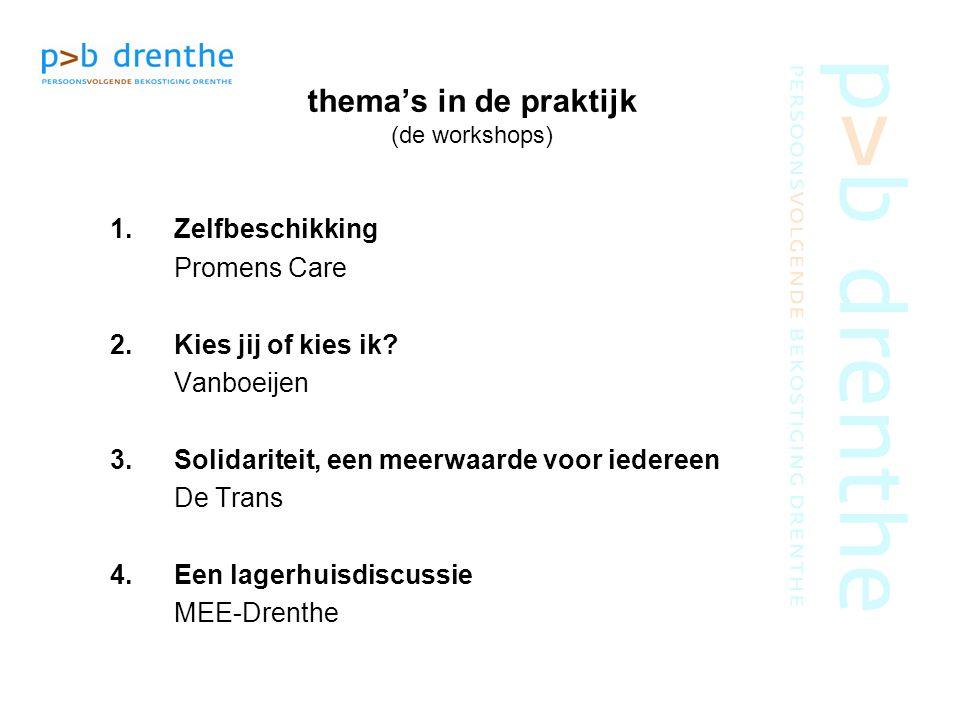 thema's in de praktijk (de workshops) 1.Zelfbeschikking Promens Care 2.Kies jij of kies ik? Vanboeijen 3.Solidariteit, een meerwaarde voor iedereen De