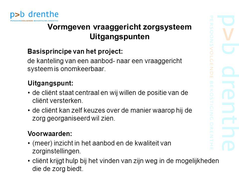samenwerkingsproject in Drenthe doel: een sterkere positie van de cliënt een cliënt die zelf kiest een zorgaanbod dat past bij de vraag voorwaarden: binnen bestaande regelingen geen bureaucratie effecten inzichtelijk maken partijen dragen bij subsidie VWS