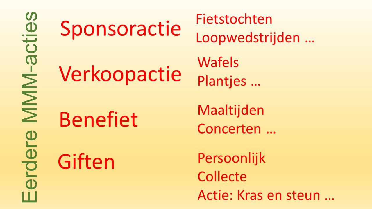 Verkoopactie Sponsoractie Fietstochten Loopwedstrijden … Wafels Plantjes … Benefiet Giften Maaltijden Concerten … Eerdere MMM-acties Persoonlijk Collecte Actie: Kras en steun …