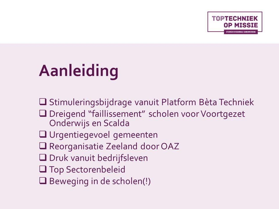 Aanleiding  Stimuleringsbijdrage vanuit Platform Bèta Techniek  Dreigend faillissement scholen voor Voortgezet Onderwijs en Scalda  Urgentiegevoel gemeenten  Reorganisatie Zeeland door OAZ  Druk vanuit bedrijfsleven  Top Sectorenbeleid  Beweging in de scholen(!)