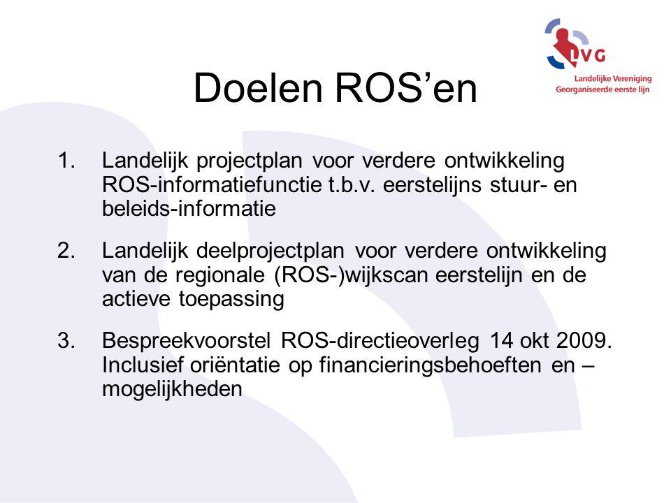 Doelen ROS'en 1.Landelijk projectplan voor verdere ontwikkeling ROS-informatiefunctie t.b.v.