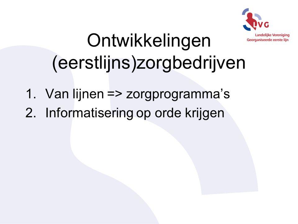 Ontwikkelingen (eerstlijns)zorgbedrijven 1.Van lijnen => zorgprogramma's 2.Informatisering op orde krijgen