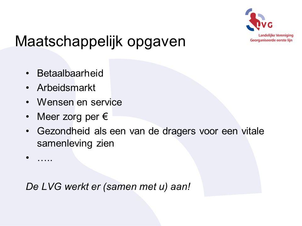 Maatschappelijk opgaven Betaalbaarheid Arbeidsmarkt Wensen en service Meer zorg per € Gezondheid als een van de dragers voor een vitale samenleving zien …..