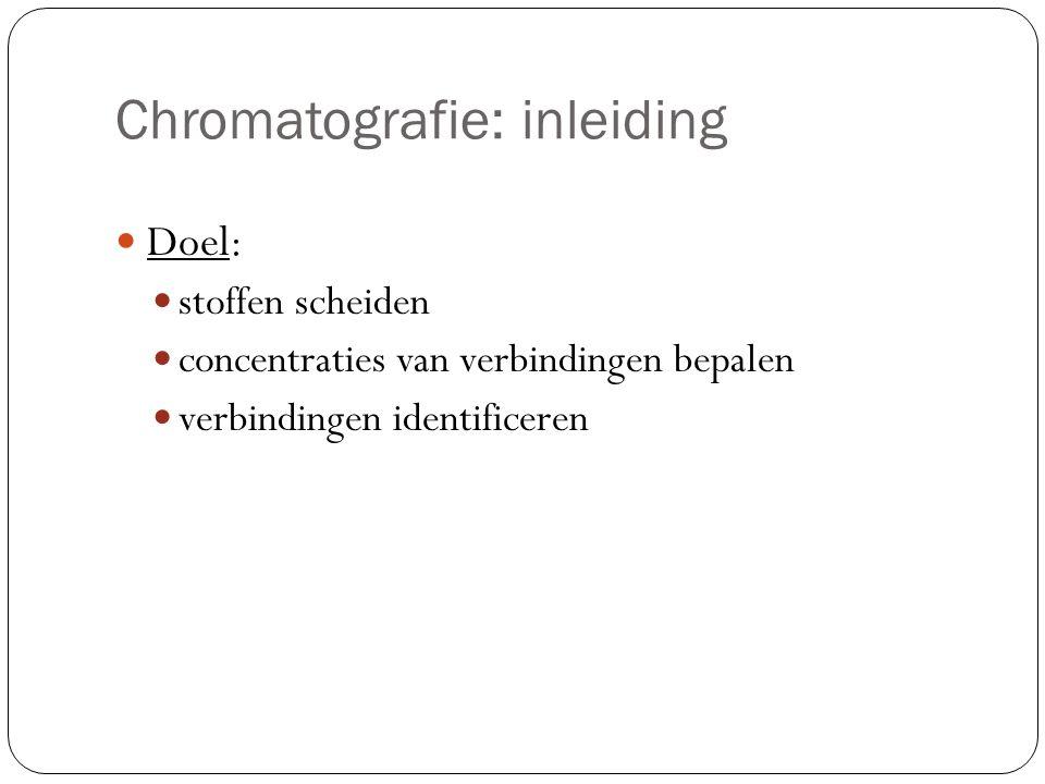 Chromatografie: uitvoeringsvorm Papierchromatografie: Eluens (loopvloeistof) loopt door papier omhoog Scheiding op basis van: Oplosbaarheid in eluens Aanhechtingsvermogen aan het papier Resultaat: chromatogram (papier met gescheiden kleuren) Kolomchromatografie: Kolom met vulling van cellulosemateriaal en oplosmiddel Van boven naar beneden Onderaan: detector: elektrisch signaal Resultaat: chromatogram (recorderregistratie met pieken)