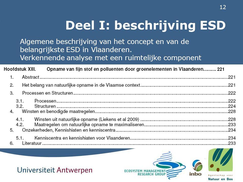 12 Deel I: beschrijving ESD Algemene beschrijving van het concept en van de belangrijkste ESD in Vlaanderen. Verkennende analyse met een ruimtelijke c