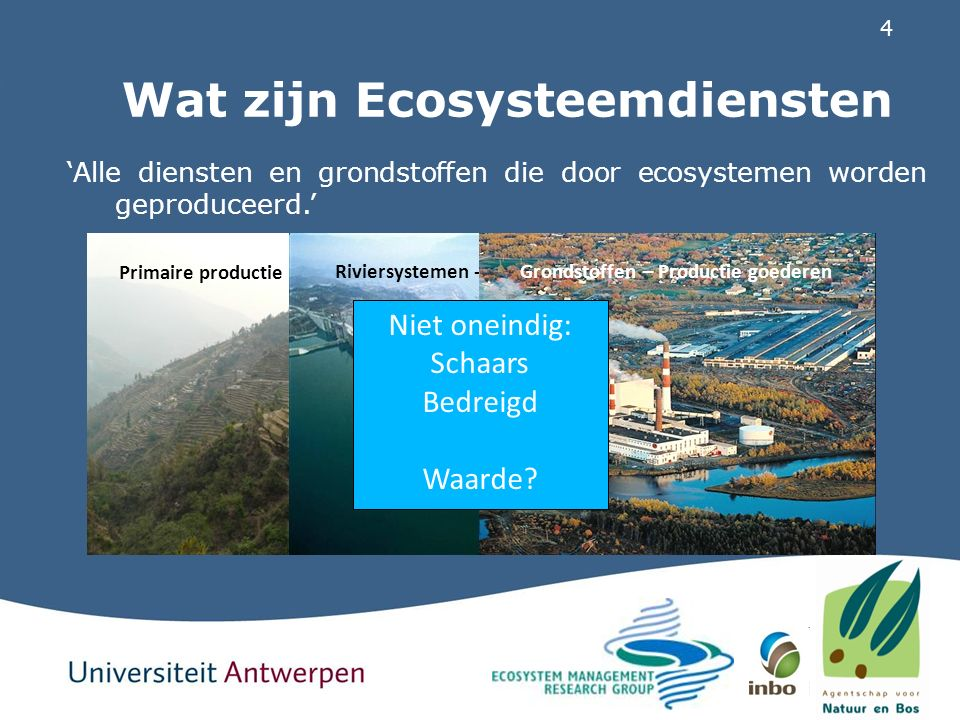 25 ESD-potentieel Melsterbeek INTERMEDIATE SERVICEFINAL SERVICEEFFECT Functioneren hydrologische systemen Waterretentie en -berging +++ Vermijden erosie, verzilting & droogteschade Cyclering van nutriënten in het estuariumVermeden eutrofiëring Noordzee+ Opslag van koolstof in ecosystemenVerminderen broeikas-effect+/PP Cyclering van stikstof en fosfor in ecosystemenZuiveren grond- en oppervlaktewater++/PP Primaire produktie Groei gewassen-/+/P Groei hout+/P Biodiversiteit Aanwezigheid groene ruimte+/PP Natuurlijke pestcontrolePP Natuurlijke pollinatiePP Kraamkamerfunctie+/PP Energiedissipatie door natuurlijke structurenVermijden overstroming+++ Beïnvloeden geluid door natuurlijke structurenAanwezigheid stilte en natuurgeluiden+/PP Adsorptie polluenten door natuurlijke structuren Zuiveren luchtP