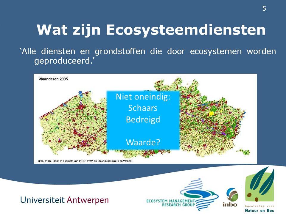 6 ESD en natuurbehoud Natuurbehoud vandaag: beperkte maatschappelijke relevantie Verdere degradatie ecosystemen = enorme investeringen Concept ESD focust op voorheen vanzelfsprekende winsten Creëert maatschappelijk draagvlak Niet goed gekend in Vlaanderen Project 'Ecosysteemdiensten in Vlaanderen': Introduceert concept in Vlaanderen Beschrijft achterliggende ecologische processen Eerste inventarisatie ESD, potentiële winsten en maatregelen Project 'MKBA': Valideren van ecosysteemdiensten Concreet instrument duurzaam beleid