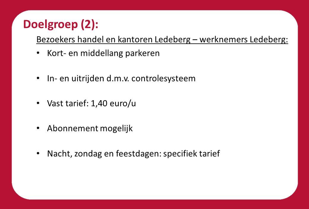 Doelgroep (2): Bezoekers handel en kantoren Ledeberg – werknemers Ledeberg: Kort- en middellang parkeren In- en uitrijden d.m.v. controlesysteem Vast