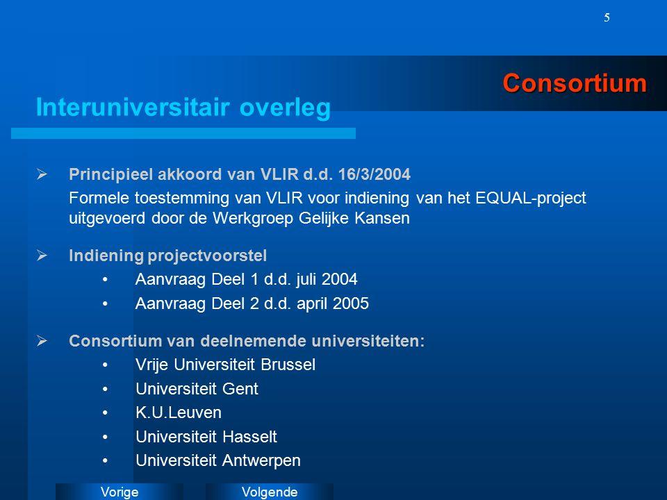 VolgendeVorige 5Consortium Interuniversitair overleg  Principieel akkoord van VLIR d.d.
