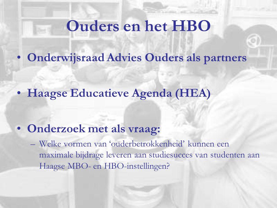 Ouders en het HBO Onderwijsraad Advies Ouders als partners Haagse Educatieve Agenda (HEA) Onderzoek met als vraag: –Welke vormen van 'ouderbetrokkenheid' kunnen een maximale bijdrage leveren aan studiesucces van studenten aan Haagse MBO- en HBO-instellingen?