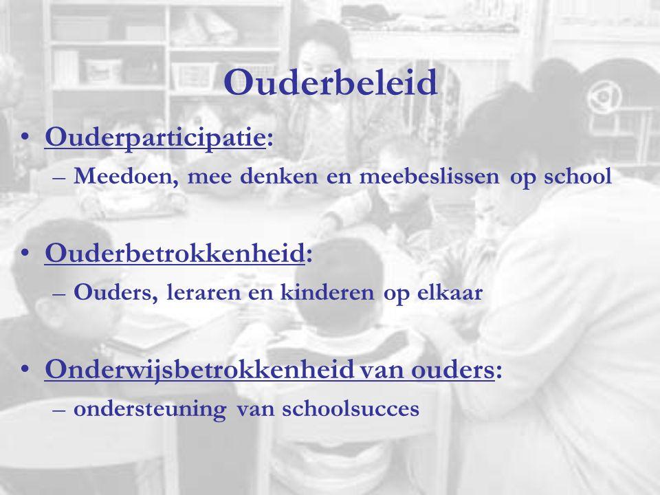 Ouderbeleid Ouderparticipatie: –Meedoen, mee denken en meebeslissen op school Ouderbetrokkenheid: –Ouders, leraren en kinderen op elkaar Onderwijsbetrokkenheid van ouders: –ondersteuning van schoolsucces