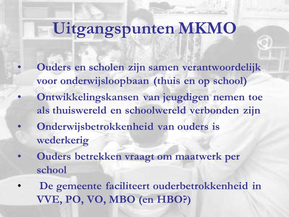 Uitgangspunten MKMO Ouders en scholen zijn samen verantwoordelijk voor onderwijsloopbaan (thuis en op school) Ontwikkelingskansen van jeugdigen nemen toe als thuiswereld en schoolwereld verbonden zijn Onderwijsbetrokkenheid van ouders is wederkerig Ouders betrekken vraagt om maatwerk per school De gemeente faciliteert ouderbetrokkenheid in VVE, PO, VO, MBO (en HBO?)