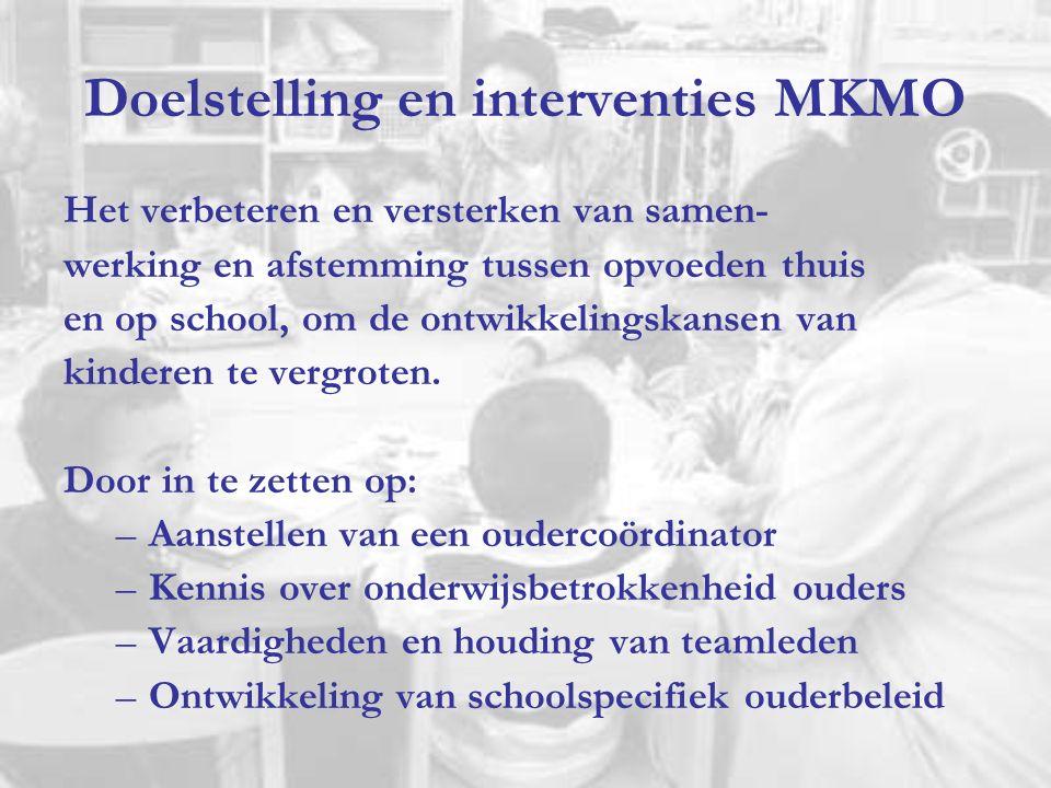 Doelstelling en interventies MKMO Het verbeteren en versterken van samen- werking en afstemming tussen opvoeden thuis en op school, om de ontwikkeling
