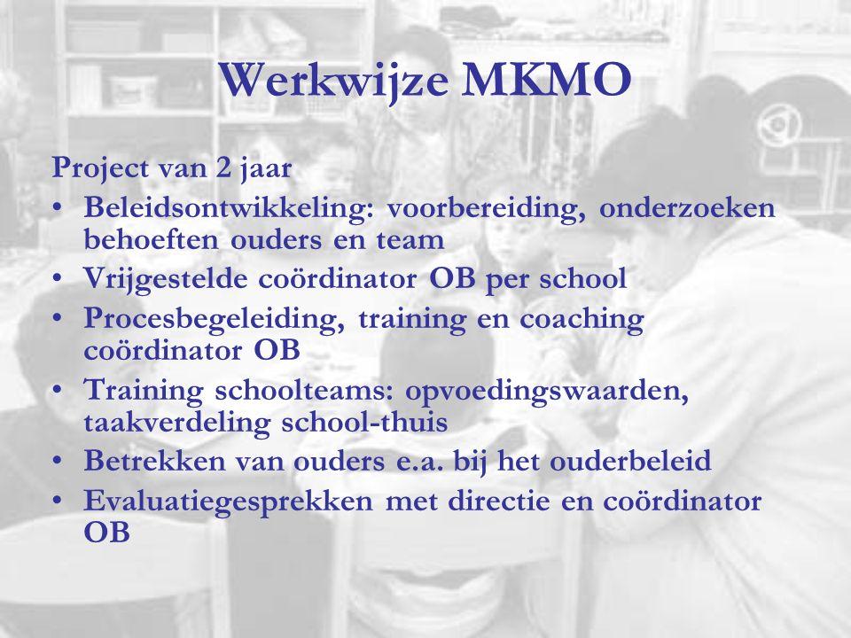 Werkwijze MKMO Project van 2 jaar Beleidsontwikkeling: voorbereiding, onderzoeken behoeften ouders en team Vrijgestelde coördinator OB per school Proc