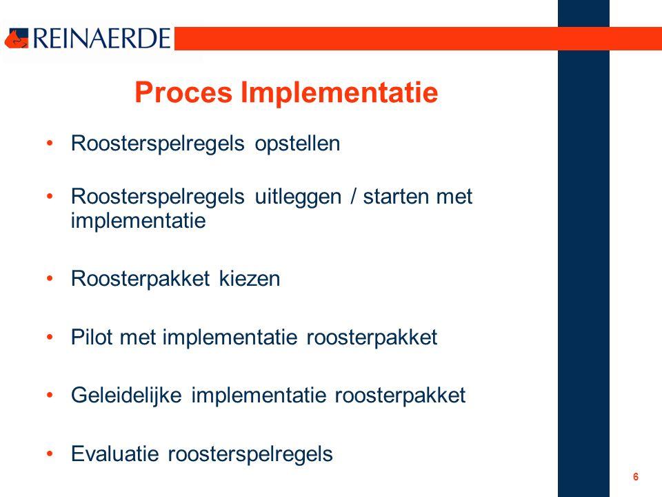 6 Proces Implementatie Roosterspelregels opstellen Roosterspelregels uitleggen / starten met implementatie Roosterpakket kiezen Pilot met implementatie roosterpakket Geleidelijke implementatie roosterpakket Evaluatie roosterspelregels