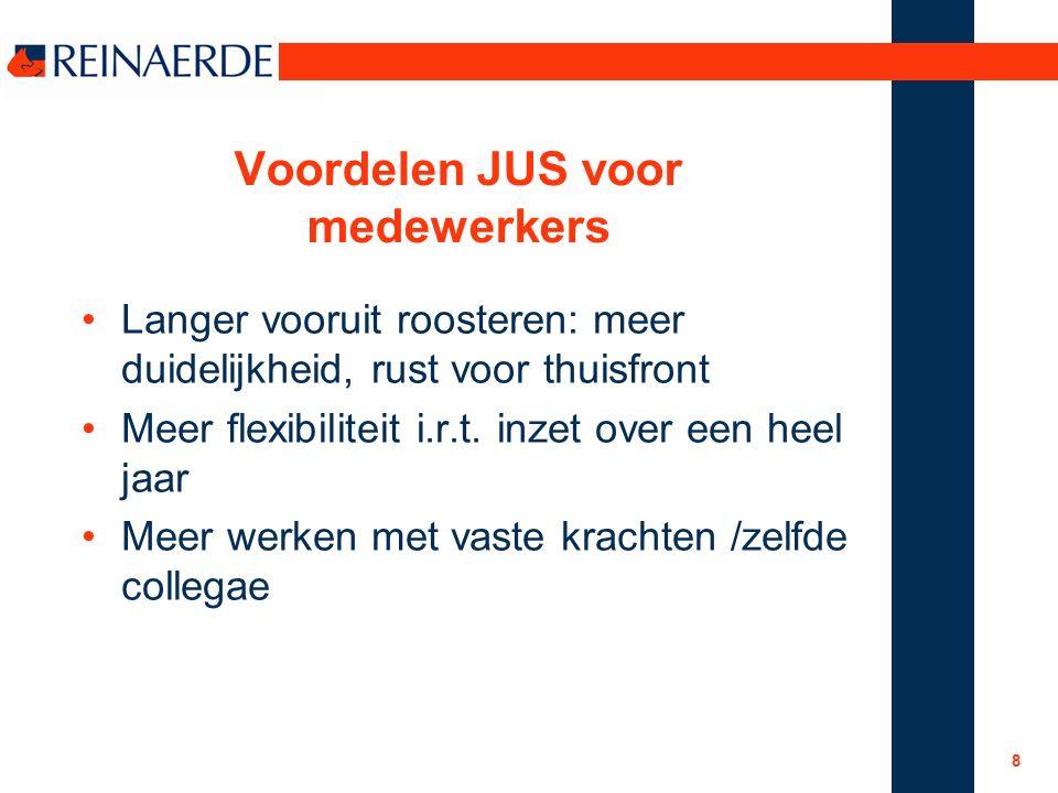 8 Voordelen JUS voor medewerkers Langer vooruit roosteren: meer duidelijkheid, rust voor thuisfront Meer flexibiliteit i.r.t.