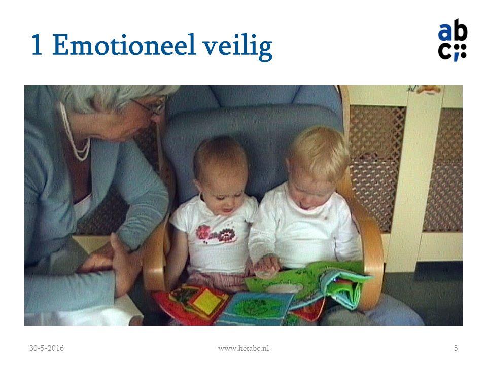 1 Emotioneel veilig De leeshoek geef geborgenheid (inrichting) Voorlezen geeft rustmomenten Vaste momenten met vaste routines Het kind wordt ondersteund bij het gebruiken van de fantasie Het kind wordt ondersteund bij het uitbreiden van de belevingswereld Het kind laten genieten van het voorlezen 30-5-2016www.hetabc.nl6