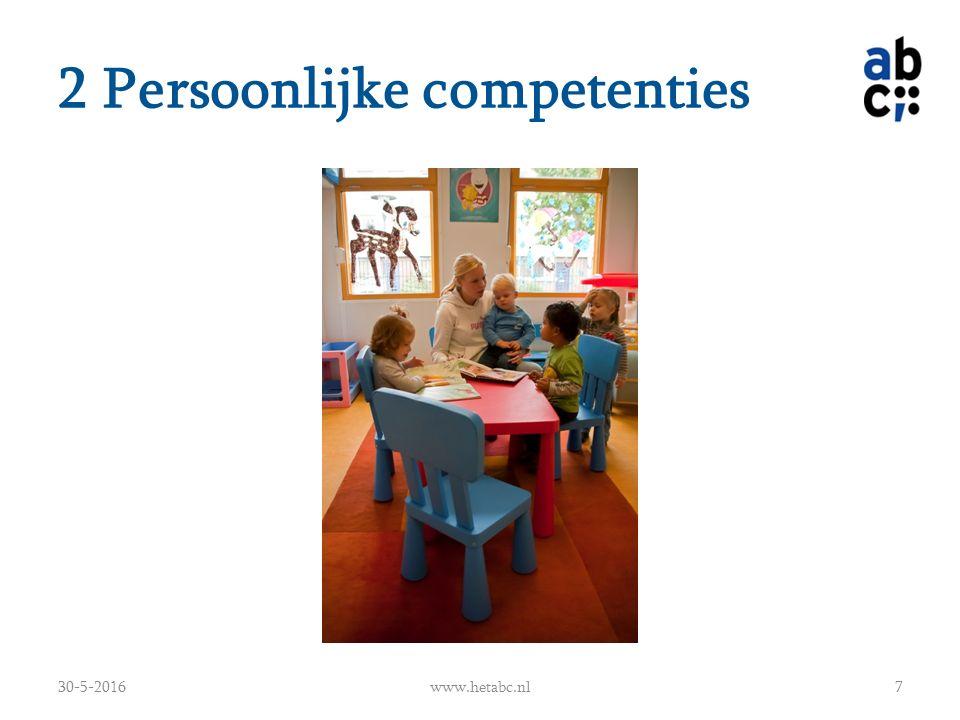 2 Persoonlijke competenties Boek past bij leeftijd Kind betrekken bij het verhaal (vragen stellen) Taalontwikkeling (luisteren) Nieuwe woorden leren Nieuwe begrippen (kleur, letters, tellen) Het denken stimuleren (vragen stellen) Kinderen leren zich te concentreren Helpen trainen van het geheugen 30-5-2016www.hetabc.nl8