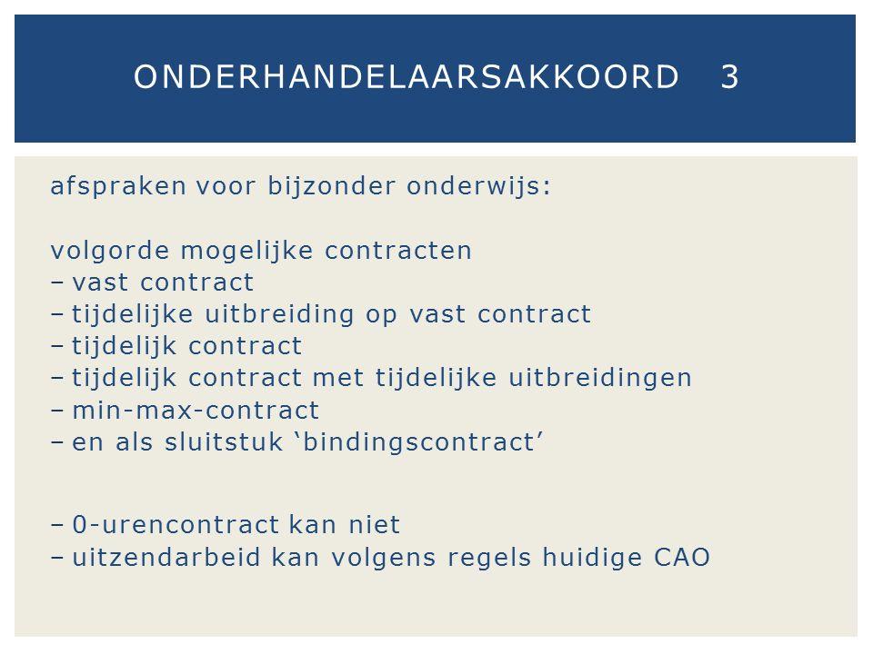 afspraken voor bijzonder onderwijs: volgorde mogelijke contracten − vast contract − tijdelijke uitbreiding op vast contract − tijdelijk contract − tij