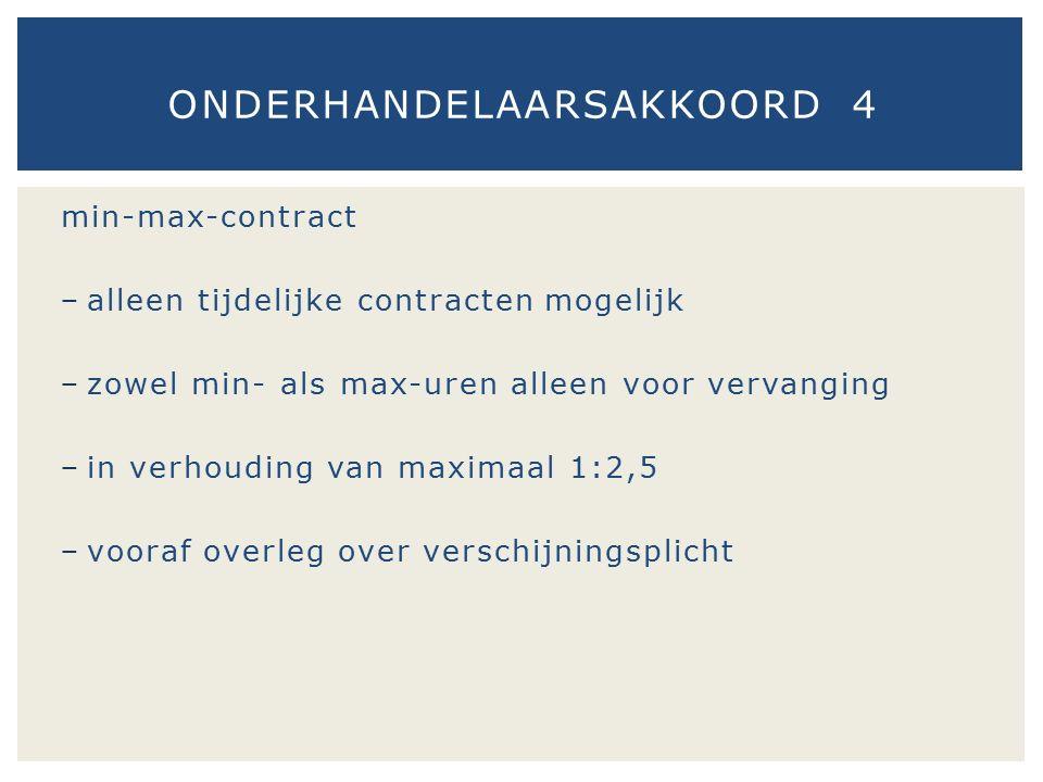 min-max-contract − alleen tijdelijke contracten mogelijk − zowel min- als max-uren alleen voor vervanging − in verhouding van maximaal 1:2,5 − vooraf