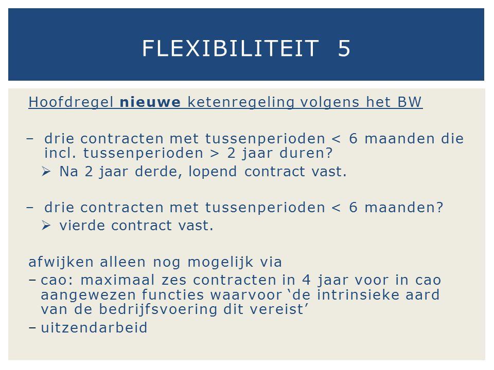 Hoofdregel nieuwe ketenregeling volgens het BW − drie contracten met tussenperioden 2 jaar duren?  Na 2 jaar derde, lopend contract vast. − drie cont