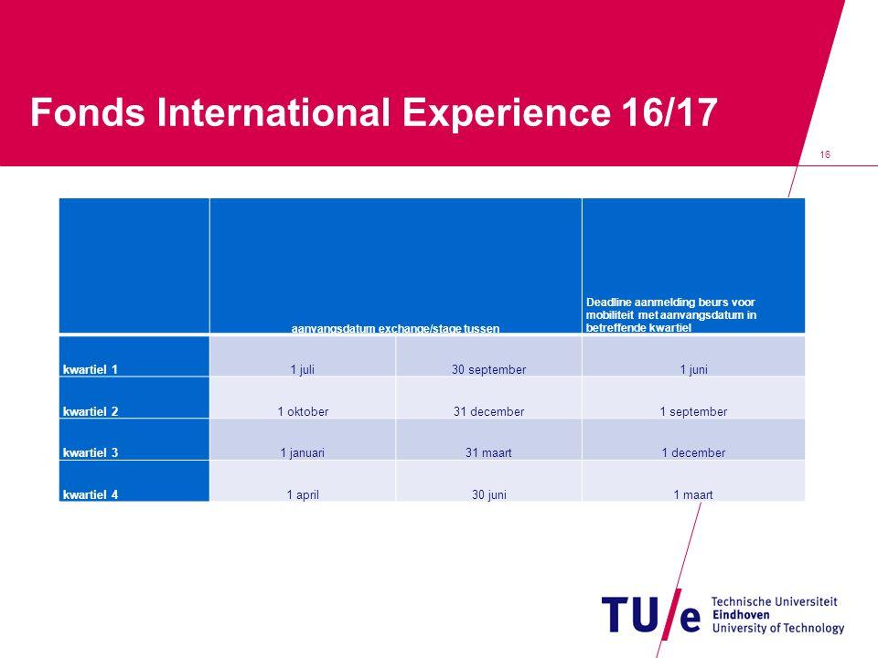 Fonds International Experience 16/17 aanvangsdatum exchange/stage tussen Deadline aanmelding beurs voor mobiliteit met aanvangsdatum in betreffende kwartiel kwartiel 11 juli30 september1 juni kwartiel 21 oktober31 december1 september kwartiel 31 januari31 maart1 december kwartiel 41 april30 juni1 maart 16