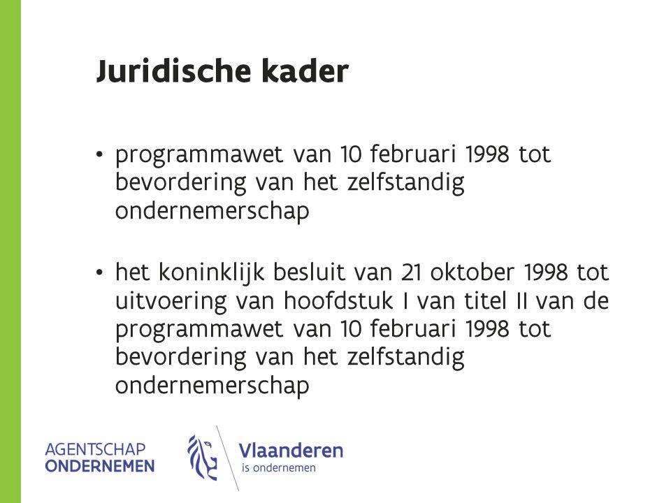 Juridische kader programmawet van 10 februari 1998 tot bevordering van het zelfstandig ondernemerschap het koninklijk besluit van 21 oktober 1998 tot uitvoering van hoofdstuk I van titel II van de programmawet van 10 februari 1998 tot bevordering van het zelfstandig ondernemerschap