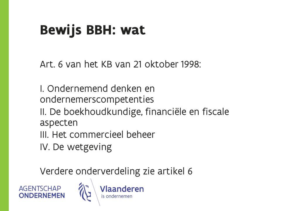 Bewijs BBH: wat Art. 6 van het KB van 21 oktober 1998: I. Ondernemend denken en ondernemerscompetenties II. De boekhoudkundige, financiële en fiscale