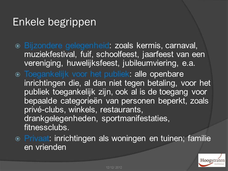 Enkele begrippen  Bijzondere gelegenheid: zoals kermis, carnaval, muziekfestival, fuif, schoolfeest, jaarfeest van een vereniging, huwelijksfeest, jubileumviering, e.a.