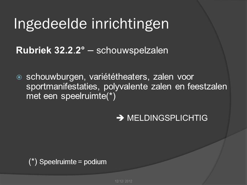 Ingedeelde inrichtingen Rubriek 32.2.2° – schouwspelzalen  schouwburgen, variététheaters, zalen voor sportmanifestaties, polyvalente zalen en feestzalen met een speelruimte(*)  MELDINGSPLICHTIG (*) Speelruimte = podium 12/12/ 2012