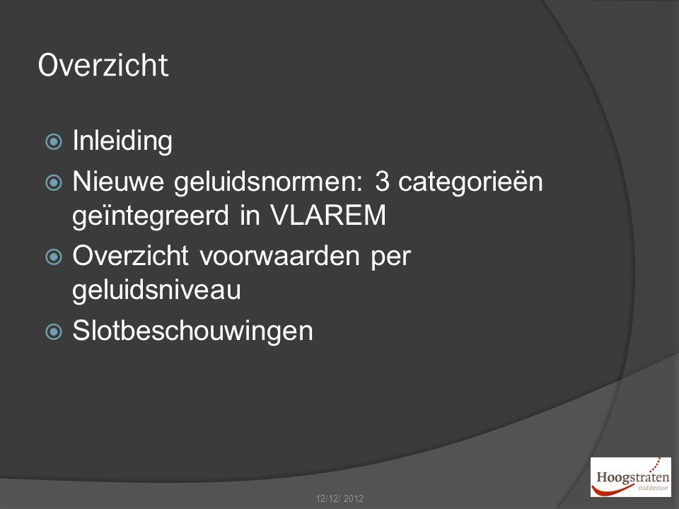 Overzicht  Inleiding  Nieuwe geluidsnormen: 3 categorieën geïntegreerd in VLAREM  Overzicht voorwaarden per geluidsniveau  Slotbeschouwingen 12/12/ 2012