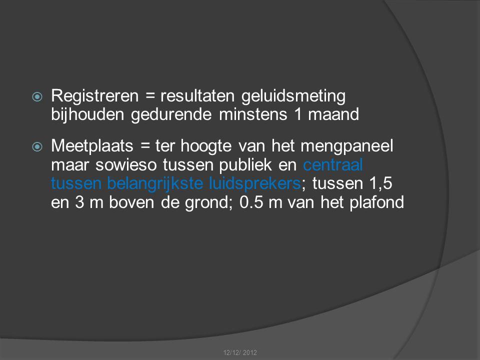  Registreren = resultaten geluidsmeting bijhouden gedurende minstens 1 maand  Meetplaats = ter hoogte van het mengpaneel maar sowieso tussen publiek en centraal tussen belangrijkste luidsprekers; tussen 1,5 en 3 m boven de grond; 0.5 m van het plafond 12/12/ 2012