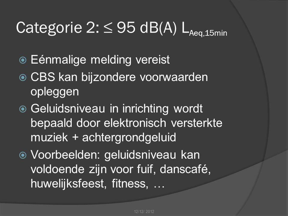 Categorie 2: ≤ 95 dB(A) L Aeq,15min  Eénmalige melding vereist  CBS kan bijzondere voorwaarden opleggen  Geluidsniveau in inrichting wordt bepaald door elektronisch versterkte muziek + achtergrondgeluid  Voorbeelden: geluidsniveau kan voldoende zijn voor fuif, danscafé, huwelijksfeest, fitness, … 12/12/ 2012