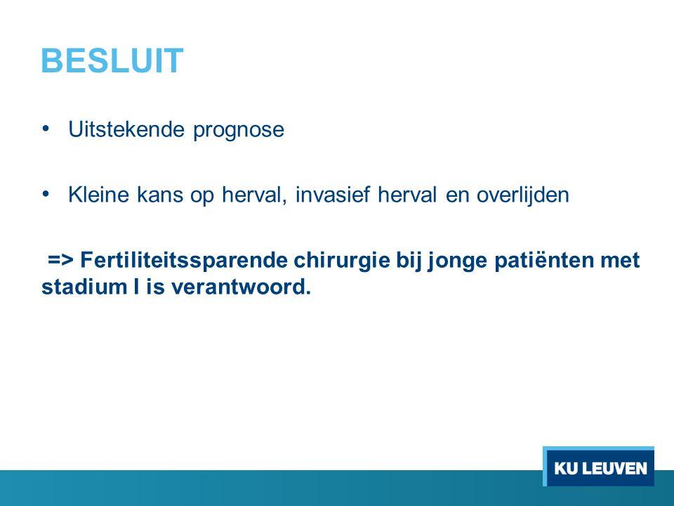 BESLUIT Uitstekende prognose Kleine kans op herval, invasief herval en overlijden => Fertiliteitssparende chirurgie bij jonge patiënten met stadium I