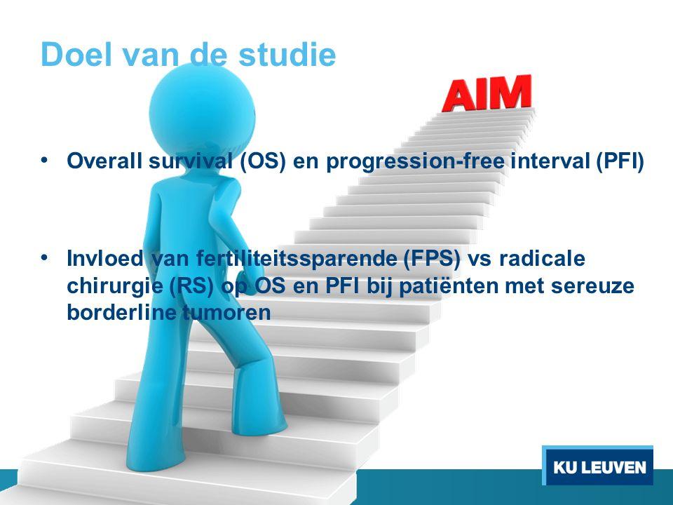 Doel van de studie Overall survival (OS) en progression-free interval (PFI) Invloed van fertiliteitssparende (FPS) vs radicale chirurgie (RS) op OS en PFI bij patiënten met sereuze borderline tumoren