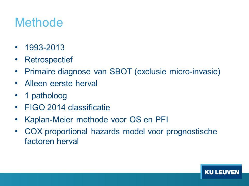 Methode 1993-2013 Retrospectief Primaire diagnose van SBOT (exclusie micro-invasie) Alleen eerste herval 1 patholoog FIGO 2014 classificatie Kaplan-Me
