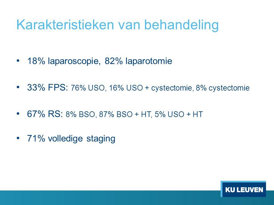 Karakteristieken van behandeling 18% laparoscopie, 82% laparotomie 33% FPS: 76% USO, 16% USO + cystectomie, 8% cystectomie 67% RS: 8% BSO, 87% BSO + HT, 5% USO + HT 71% volledige staging