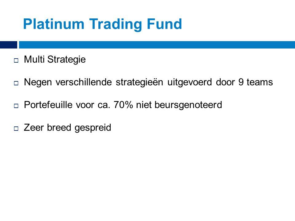 Platinum Trading Fund  Multi Strategie  Negen verschillende strategieën uitgevoerd door 9 teams  Portefeuille voor ca. 70% niet beursgenoteerd  Ze