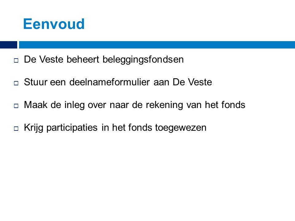 Eenvoud  De Veste beheert beleggingsfondsen  Stuur een deelnameformulier aan De Veste  Maak de inleg over naar de rekening van het fonds  Krijg participaties in het fonds toegewezen