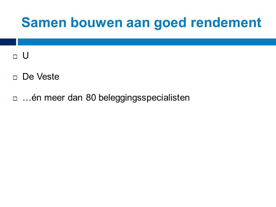 UU  De Veste  …én meer dan 80 beleggingsspecialisten Samen bouwen aan goed rendement